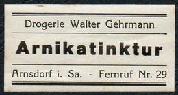 C5493 - Arnsdorf Walter Gehrmann Apotheke Drogerie - Etikett Aufkleber - Arnikatinktur - Aufkleber