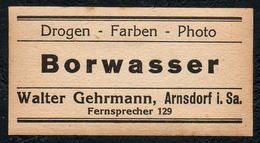 C5494 - Arnsdorf Walter Gehrmann Apotheke Drogerie - Etikett Aufkleber - Borwasser - Aufkleber