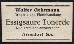 C5495 - Arnsdorf Walter Gehrmann Apotheke Drogerie - Etikett Aufkleber - Mähmaschinen Öl - Aufkleber