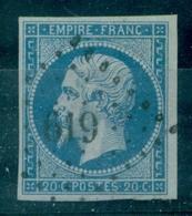 FRANCE N° 14 T1 Sur Lilas Ob Pc 619 Carpentras (vaucluse) Signé R.Calves TB Cote 80 €. - 1853-1860 Napoléon III