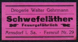 C5497 - Arnsdorf Walter Gehrmann Apotheke Drogerie - Etikett Aufkleber - Schwefeläther - Aufkleber