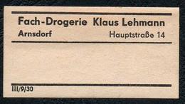 C5498 - Arnsdorf Klaus Lehmann Apotheke Drogerie - Etikett Aufkleber - Aufkleber