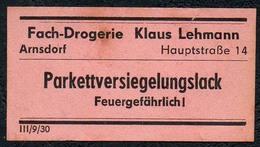 C5499 - Arnsdorf Klaus Lehmann Apotheke Drogerie - Etikett Aufkleber - Parkett Versiegelung - Aufkleber