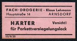 C5500 - Arnsdorf Klaus Lehmann Apotheke Drogerie - Etikett Aufkleber - Härter - Aufkleber
