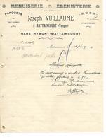 Lettre / 88 MATTAINCOURT / J VUILLAUME / Menuiserie, ébenisterie, Parquets, Bois, Planches - France