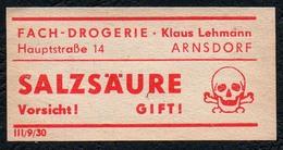 C5502 - Arnsdorf Klaus Lehmann Apotheke Drogerie - Etikett Aufkleber - Salzsäure - Aufkleber