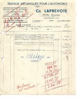 Facture 1941 / 88 VITTEL / G. LAPREVOTE / Garage / Travaux Sur Voiture DELAHAYE - France