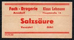 C5504 - Arnsdorf Klaus Lehmann Apotheke Drogerie - Etikett Aufkleber - Salzsäure - Aufkleber
