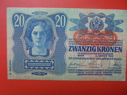 AUTRICHE 20 KRONEN 1919/1913 CIRCULER BONNE QUALITE (B.1) - Austria