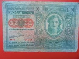 AUTRICHE 100 KRONEN 1919/1912 CIRCULER BONNE QUALITE (B.1) - Austria