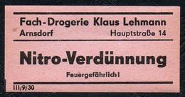 C5505 - Arnsdorf Klaus Lehmann Apotheke Drogerie - Etikett Aufkleber - Nitro Verdünnung - Aufkleber