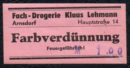 C5506 - Arnsdorf Klaus Lehmann Apotheke Drogerie - Etikett Aufkleber - Farbverdünnung - Aufkleber