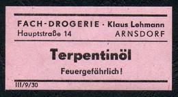 C5507 - Arnsdorf Klaus Lehmann Apotheke Drogerie - Etikett Aufkleber - Terpentinöl - Aufkleber
