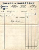 5 Factures 1939 / 21 BEAUNE NUITS ST GEORGES / G. CHAMPION / Garage De Bourgogne Agent CITROEN - France
