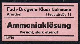 C5508 - Arnsdorf Klaus Lehmann Apotheke Drogerie - Etikett Aufkleber - Ammoniaklösung - Aufkleber