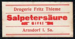 C5509 - Arnsdorf Fritz Thieme Apotheke Drogerie - Etikett Aufkleber - Salpetersäure - Aufkleber