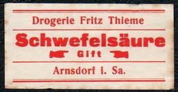 C5510 - Arnsdorf Fritz Thieme Apotheke Drogerie - Etikett Aufkleber - Schwefelsäure - Aufkleber