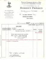 Facture 1962  / 21 FROIDVENT / BORDET / Dérivés Du Bois, Scierie / Logo Coq - France