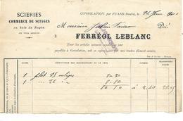 Facture 1/2 Format 1901  / 25 CONSOLATION Par FUANS / Ferréol LEBLANC / Scierie - France