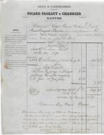 Facture 1854 / 44 NANTES / PICARD PAGEAUT CHARRIER / Sels & Commissions / E CARREL 37 TOURS - France