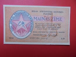 LETTONIE 1 RUBLIS 1919 PEU CIRCULER/NEUF (B.1) - Latvia