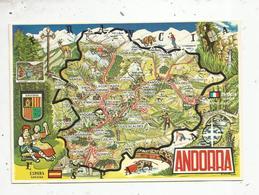 Cp, Carte Géographique , ANDORRA ,  Valls D'Andorra , Mapa ,  Vierge , Ed. Oscar - Maps