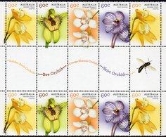 AUSTRALIA, 2014 NATIVE ORCHIDS GUTTER STRIP 10 MNH - 2010-... Elizabeth II