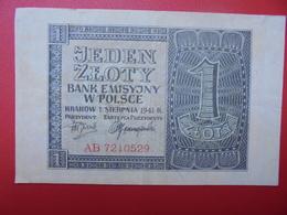 POLOGNE 1 ZLOTY 1941 CIRCULER-BONNE QUALITE (B.1) - Poland