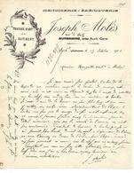 2 Factures 1908 / 32 AUCH / J. MOLES / Menuiserie ébenisterie, Travaux D'art - France