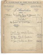 Facture 1933 / 26 LORIOL / F. BAUBICHON / Fabrique De Glace / Scierie Mécanique - France