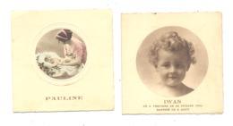 Faire-part De Baptême Famille Mileur VERVIERS 1931 / GRAND - RECHAIN 1933 - 2 Pièces (van) - Naissance & Baptême