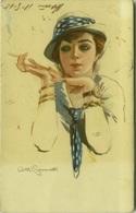 SIMONETTI SIGNED 1910s  POSTCARD '' WOMAN SMOKING CIGARETTE '' - N. 218-4 (BG362) - Illustratori & Fotografie