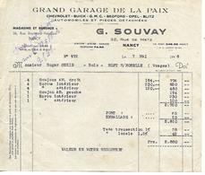 Facture 1/2 Format 1948 / 54 NANCY / Garage De La Paix / G. SOUVAY / Agence CHEVROLET BUICK GMC BEDFORD OPEL BLITZ - France
