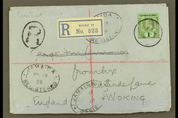 1908 (11 May) Registered Cover To England, Bearing 1907-09 1s Wmk CA Stamp (SG 33) Tied By Cds Cancel, With Registration - Cayman Islands