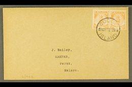 1950 (Nov)neat Envelope To Perak Bearing Perak 2c Orange (SG 129) Pair Tied By COCOS ISLAND Cds. For More Images, Pleas - Cocos (Keeling) Islands