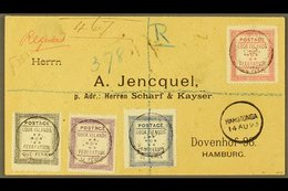 1893 (14th August) Rare Envelope Registered To Germany, Bearing The 1892 Set Of Four, SG 1/4, Tied By Black Cook Islands - Cook Islands