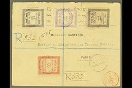 1893 (15th October) Rare Envelope Registered To Paris, Bearing 1892 Set Of Four Tied By Violet Cook Islands P O Rarotong - Cook Islands