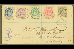 1894 (13th October) Envelope Registered To Victoria, Bearing Queen Makea Takau 1d Blue, 1½d, 2½d, 5d And 10d, Each Tied  - Cook Islands