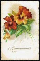 """Fleurs - """" Anniversaire """" - Circulé Sous Enveloppe - Circulated Under Cover - Gelaufen U. Umschlag. - Flowers, Plants & Trees"""