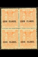 1943-54 £1 Pink Arms, SG 134, Fine Never Hinged Mint Block Of Four. For More Images, Please Visit Http://www.sandafayre - Cook Islands