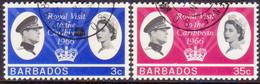 BARBADOS 1966 SG #340-41 Compl.set Used Royal Visit - Barbados (...-1966)
