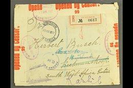 1917 DESTINATION MAIL - (13 Aug) Registered Env. To Keetmanshoop, SOUTH WEST AFRICA, Franked On Reverse With Seven Stamp - Ecuador