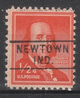 USA Precancel Vorausentwertung Preo, Locals Indiana, Newtown 745 - Vorausentwertungen