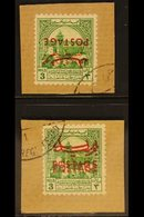 """OBLIGATORY TAX - POSTAL USE 1953-56 3m Emerald """"INVERTED OPT"""" & 3m Emerald """"DOUBLE OPT"""" , SG 396a/96b, Individually Tied - Jordan"""