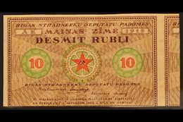 1920 ALMOST COMPLETE BANKNOTE 20k+30k Red & Brown Imperf Red Cross Printed On Back Of Red, Green & Brown Bolshevist Note - Lettonie