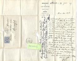 Lettre Neveu à Son Oncle 1877 / 73 ALBERTVILLE /  Entête Chemins Vicinaux Savoie / MOLLIET Beaufort / Pb Argent - France