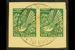 """1935 ½d Bright Green Fantail, Horiz Pair Tied To A Piece By Full """"PITCAIRN ISLAND"""" Cancel (date Not Readable), SG Z22.   - Pitcairn Islands"""
