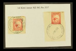 """1935 1d Scarlet Kiwi Of New Zealand, Two Stamps On Pieces And Tied By Full Or Near Full """"PITCAIRN ISLAND"""" Cds Cancels, S - Pitcairn Islands"""