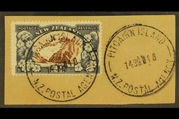 """1935 2½d Chocolate And Slate Pictorial Of New Zealand, On Piece Tied By Fine Full """"PITCAIRN ISLAND"""" Cds Cancels Of 14 OC - Pitcairn Islands"""