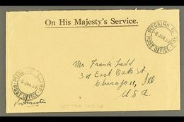 """1953 (8 Jan) Stampless Printed 'OHMS' Envelope To Chicago With Two Fine Strikes Of """"Pitcairn Island Post Office"""" Cds, En - Pitcairn Islands"""